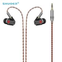 SHUOER الشريط 10 مللي متر عالية الأداء تكنولوجيا النانو الجهد المنخفض سائق كهرباء في الأذن سماعة مع كابل MMCX انفصال