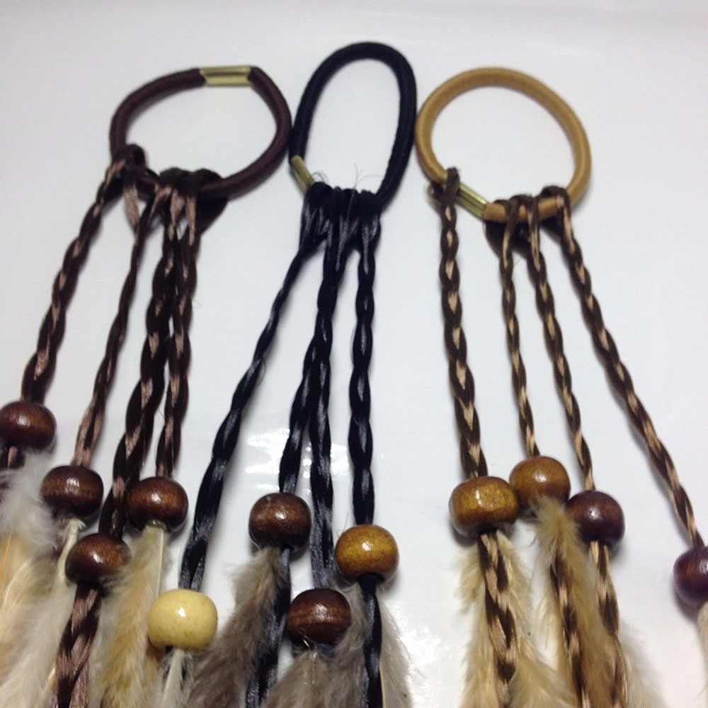 1pc Bohemian Feder Kopfschmuck Farbe Pferdeschwanz Perücke Ramie Haar Seil Haar Zubehör Persönlichkeit Haar zubehör für mädchen frauen