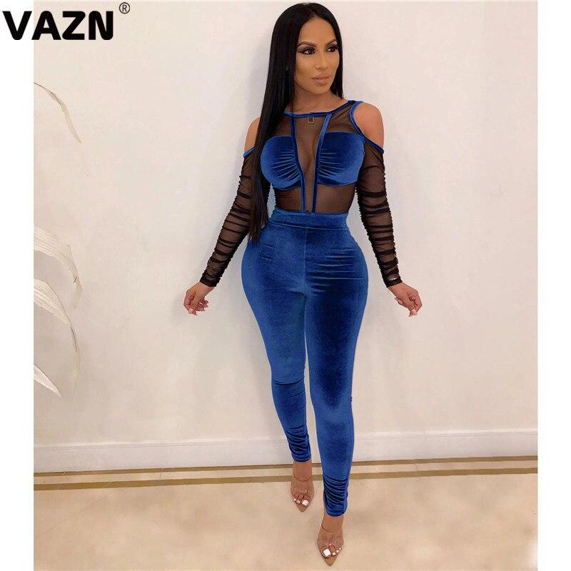 VAZN LDS3188 Chic Design 2019 Autumn Sexy Lady 5 Colors Long Jumpsuit Full Sleeve Patchwork Lace Velour Juimpsuits Chic Jumpsuit
