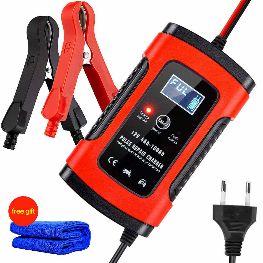 Universal Motorcycle ATV 12V 6A Pulse Repair 3-Stage Battery Charger US Standard
