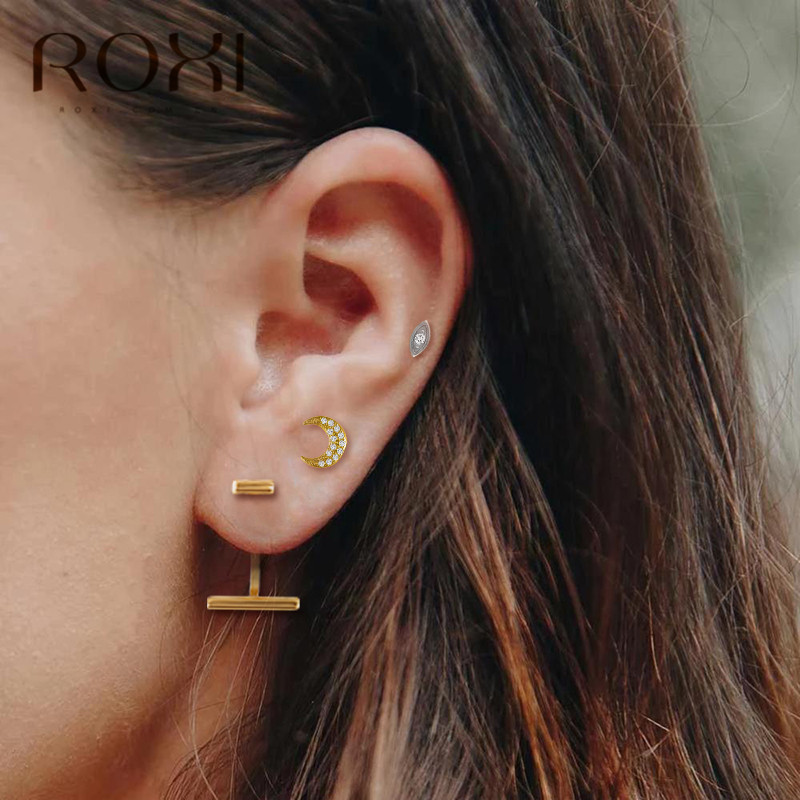 ROXI Minimalist Bar Stud Earrings 925 Sterling Silver Ear Pin Helix Piercing Earrings for Women Female Bijoux Boucle d'oreille