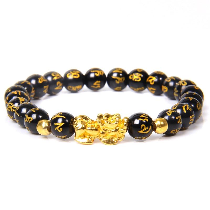 Женский мужской браслет Feng Shui, удача, богатство Будды, черный обсидиан, браслет из бисера, hombre, Золотой шарм, браслет Pixiu, подарки