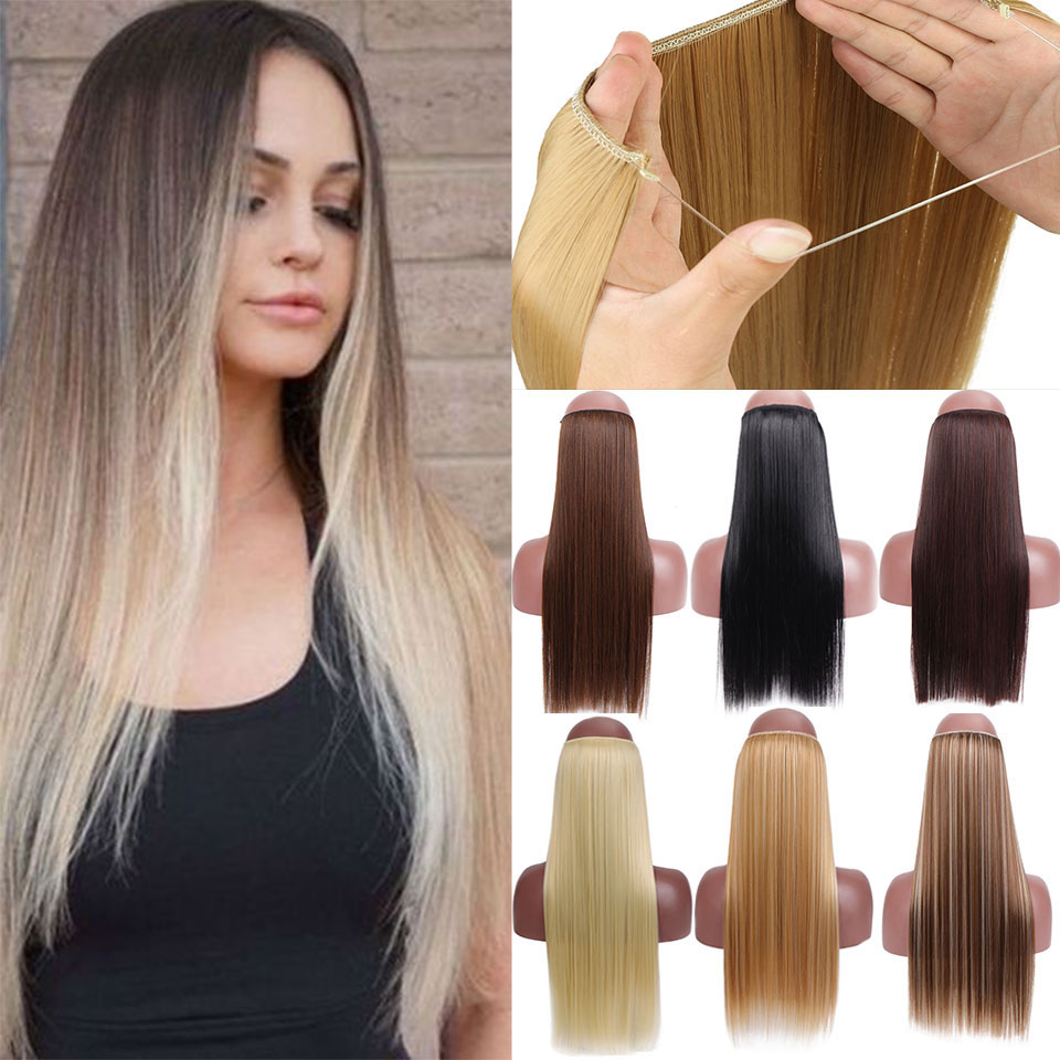 SHANGKE No Clips In Straight Hair Extensions Invisible Ombre Bayalage Synthetic Natural Flip Hidden Secret Wire Grey Pink