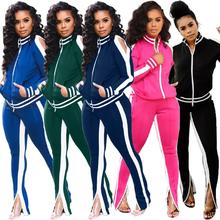 2019 Europe and the United States autumn and winter new round neck striped fashion casual sports suit two-piece цена 2017