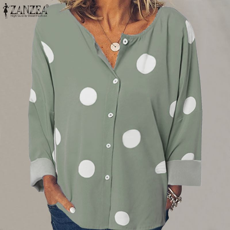 Plus Size Tunic Women's Print Blouse ZANZEA 2019 Autumn Casual Long Sleeve Shirt Stylish Polka Blusas Female Button O-Neck Top 7