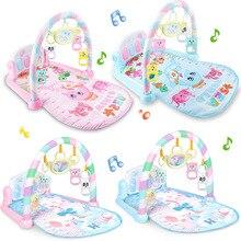 Tapis de gymnastique pour bébés de 0 à 12 mois, tapis de développement, hochets souples, jouets musicaux, activité pour bébés de 0 à 12 mois