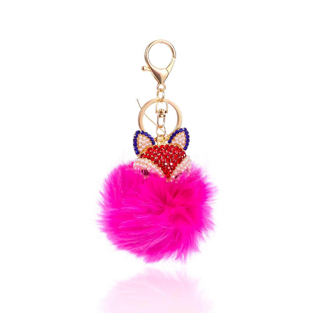 Linda Raposa Pompom Keychain Multicolor Brilhante Doce Carteira Chaveiro Bolsa Pingente Ornamento Mulheres Meninas Festa Banquete Jewlery
