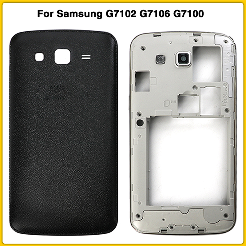 New Full Housing <font><b>Case</b></font> For <font><b>Samsung</b></font> Galaxy <font><b>Grand</b></font> <font><b>2</b></font> II <font><b>G7102</b></font> G7106 G7100 Battery Back Cover Door Rear Cover Middle Frame Plate image