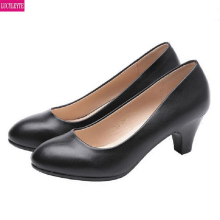 women shoes spring high heels black leather shoes suit job interview single shoe round head thick heel with work shoes wom 2017 spring and summer japanned leather thick heel high heeled shoes bow ol formal work shoes female black with the single shoes