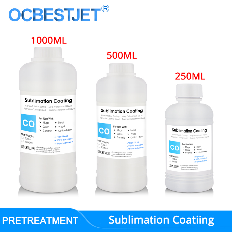 Sublimation Coating For Cotton Fabric Mugs Glass Ceramic Metal Wood Sublimation Ink Pretreatment Liquid  3 Capacity Options