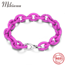 Lady Fashion Link Chain Bracelets for Women Newest Hard Rubber Jewelry Friendship Party Charm Bracelets Bangles Wholesale cheap MIKIWUU Chain Link Bracelets Silver 925 Sterling NONE TRENDY ROUND PX0289 Fine Boyfriend girlfriend family lover mother