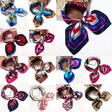 AOMU Women Bandanas Multifunction Polyester Silk Scarf Prints Satin Small Square Shawls and Scarves Foulard Neckerchief cheap Adult Chiffon Ring Fashion 60cm
