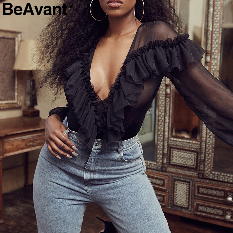 BeAvant Vintage ruffle women sexy bodysuit V-neck long sleeve blouse shirt bodysuit 2019 Summer elegant ladies playsuits   rompers