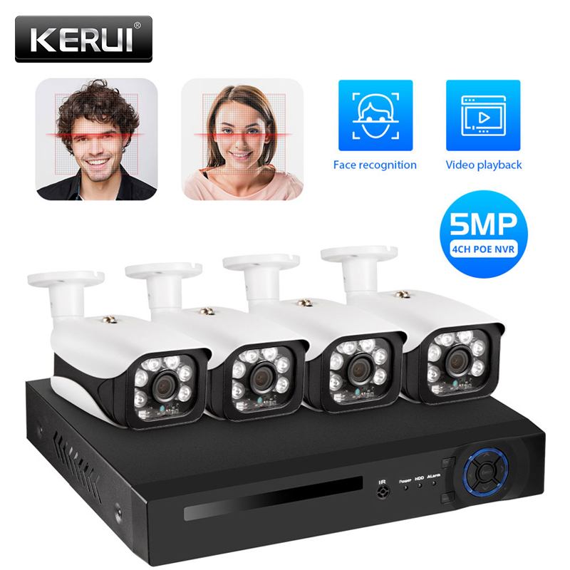 KERUI 4CH POE NVR Kit HD 5MP Home Security Face Recognition IP Camera Wired CCTV Outdoor Waterpfoof WIFI Motion Alarm NVR Kit