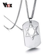 Vnox – collier avec pendentif Star David pour homme, en acier inoxydable, longue chaîne, bijoux masculins