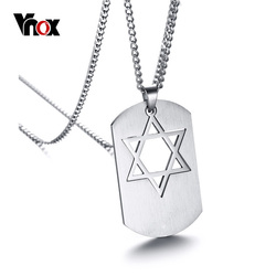 Vnox Star David Pendant Necklace Stainless Steel Long Chain Male Men Jewelry