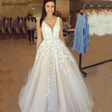 Newest Light Champagne V Neck Applique Wedding Dresses Sleeveless A Line Backless Bridal Vestido De Noiva