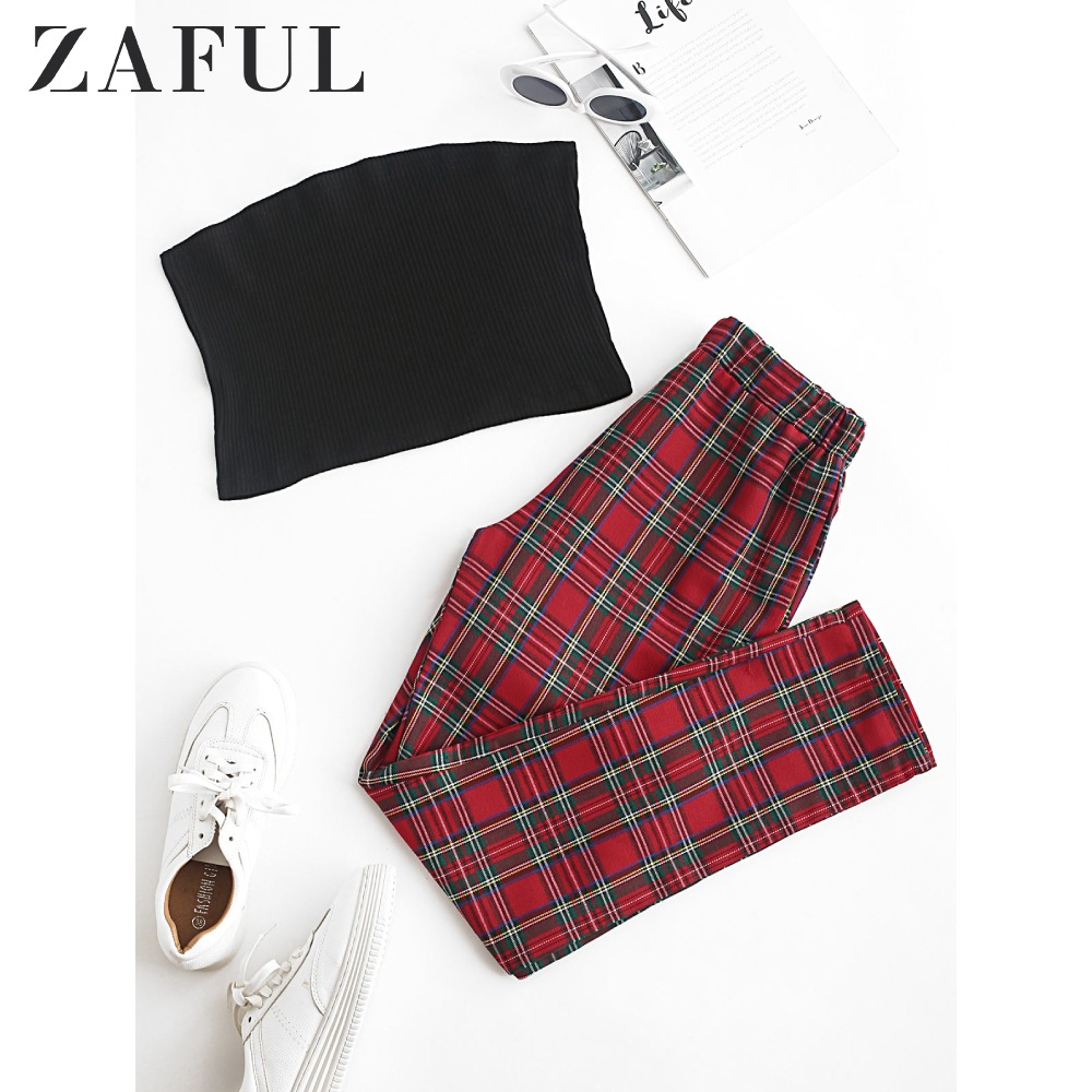 ZAFUL Solid Strapless Top And Plaid Pants Set Plain Tank Top High Waistline Pants Two Piece Suit Elastic Casual Women'S Sets