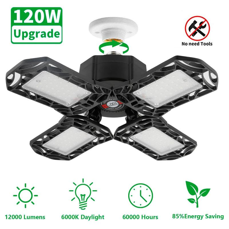 New 120W E26/E27 Garage Light Deformable Ceiling Light For Home Warehouse Workshop AC85-265V Folding Four-Leaf Deformation Lamp