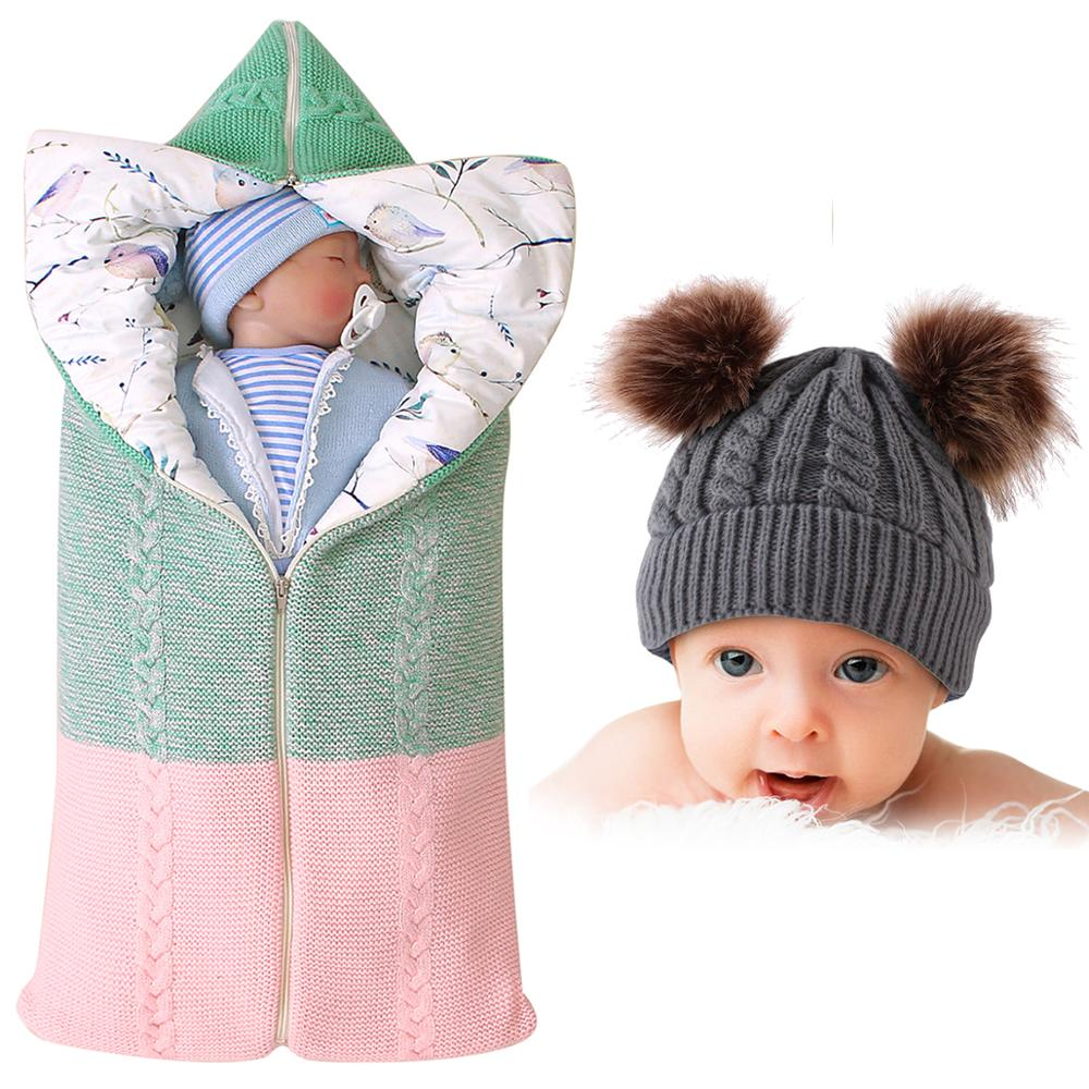 Autumn Envelope For Newborn Baby Sleeping Bags Winter Warm Infant Stroller Sleep Bag Cable Cotton Toddler Outdoor Swaddle Wrap