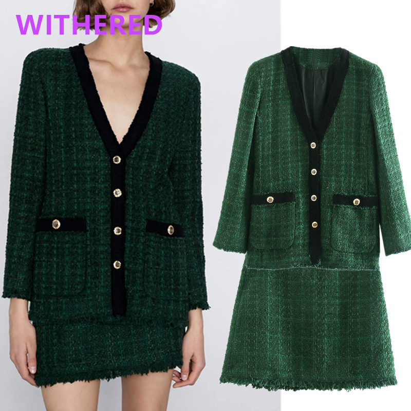 Withered England Style Elegant Vintage Plaid Tweed Blazer Women Feminino Jackets Skirt Women Faldas Mujer Moda 2020 2 Pieces Set