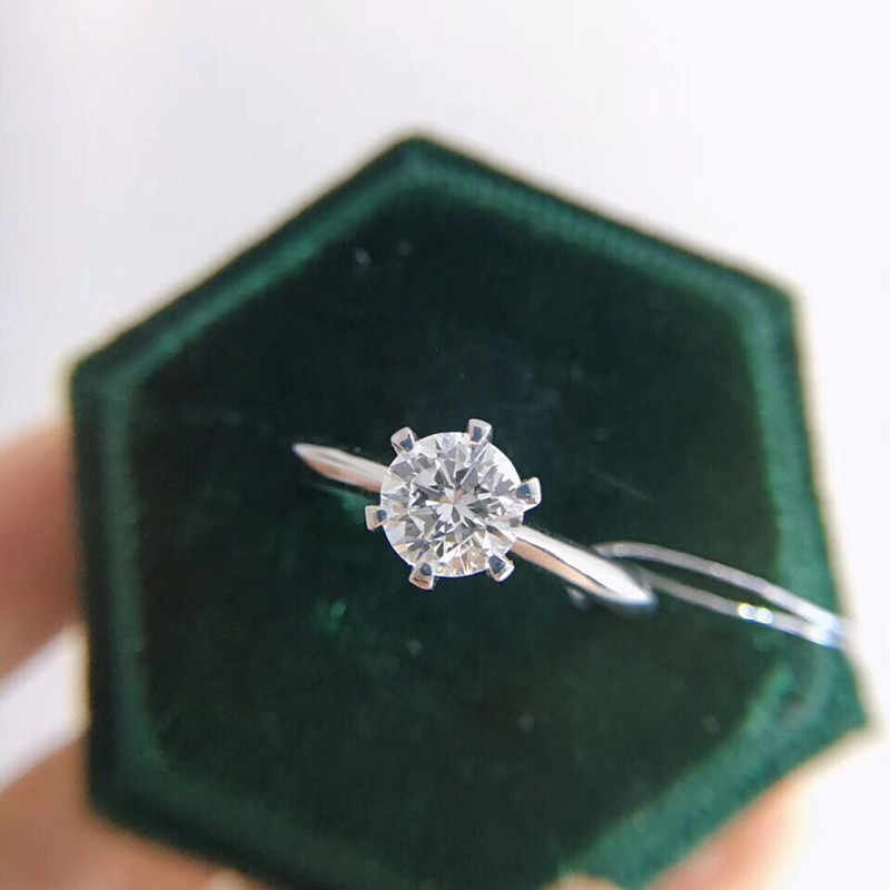 YANHUI z certyfikatem 925 srebrny pierścień pasjans 1 Carat cyrkonia diament pierścionki czysta 18K złota Pt obrączka kobiety prezent R018