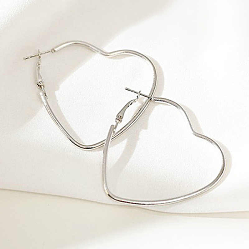 Simple Hollow Big Heart Hoop Earrings For Women Girls Exaggerated Gold Silver Color Love Earrings Trendy Romantic Jewelry Gifts
