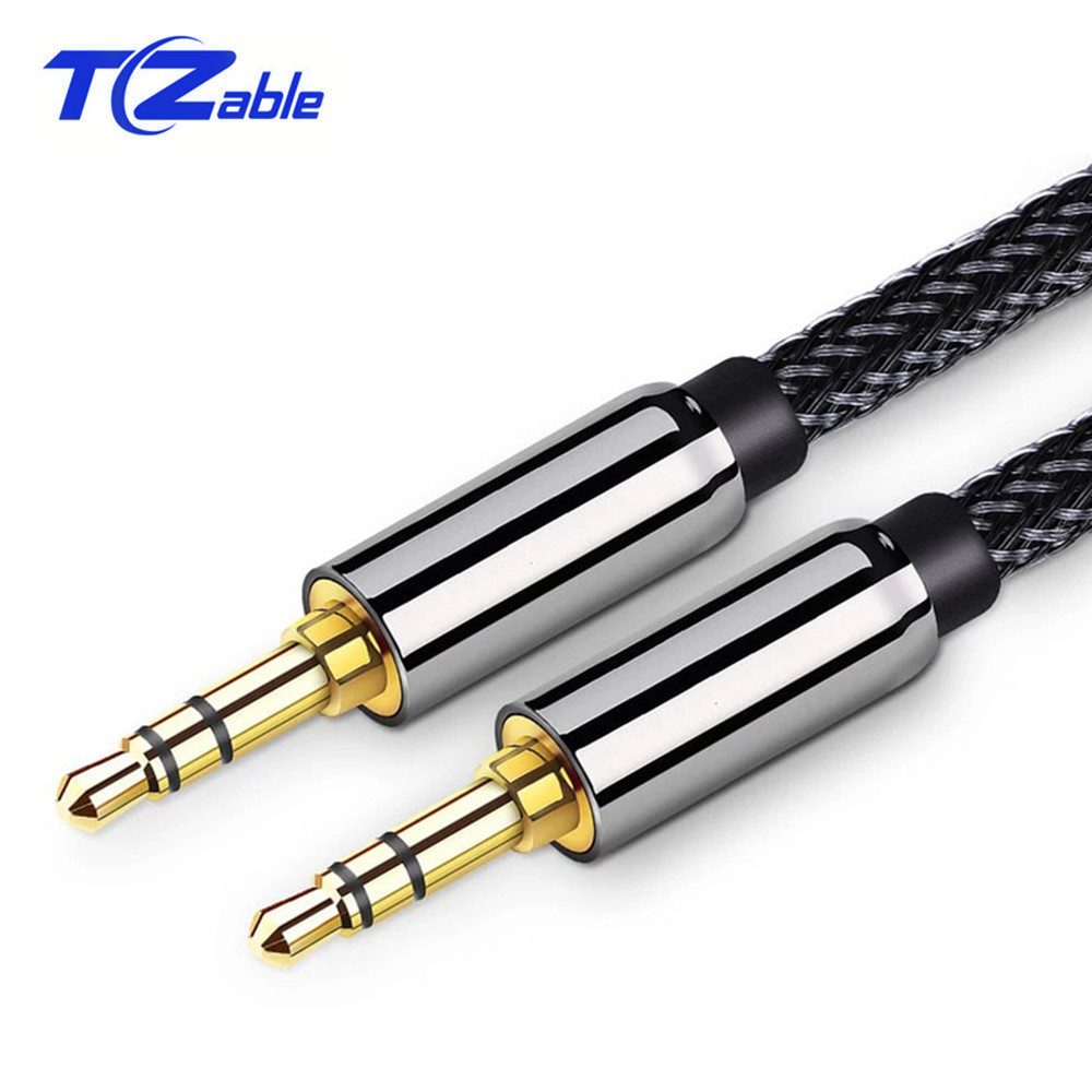 Aux Cable 3.5mm Male To Male Gold Plated 3.5 Jack to 3.5 Jack Stereo Plug Shielded Audio Cable For Speaker 0.5m 1m 1.5m 2m 3m 5m image