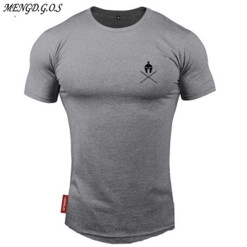 2019 Men Gyms Fitness T-shirt  Workout Cotton t shirts Mens Short sleeve Printed Tee Tops Fashion Casual clothing covrlge 2019 t shirt men short sleeve solid tshirt mens fashion slim fit t shirts casual o neck tshirts fitness clothing mts2911