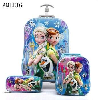 2018 الأطفال الجديد على ظهره حقيبة مدرسية للأطفال مع عجلة عربة الأمتعة بنين بنات مدرسة حقيبة الظهر للأطفال هدية حقيبة 2