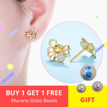 High Quality 100% 925 Sterling Silver Golden  Bee Story Clear CZ Exquisite Stud Earrings for Women Fashion Jewelry