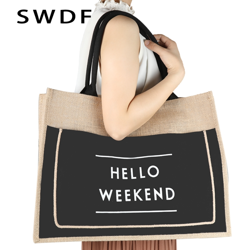 SWDF 2019 New Womens Handbags And Purses Casual Tote Messenger High Quality Lady Shoulder Bags Female Clutches Hot Straw Bag Sac in Shoulder Bags from Luggage Bags