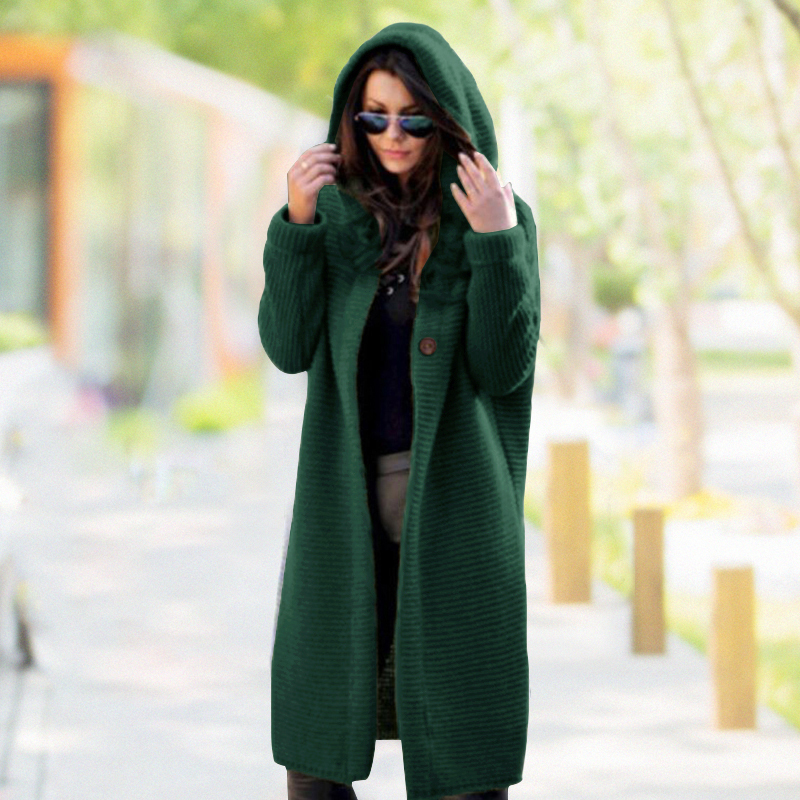 Plus Size Long Cardigan Women Winter Solid Oversized Hooded Cardigans Female Keep Warm Sweater Loose Wool Knitted Coat