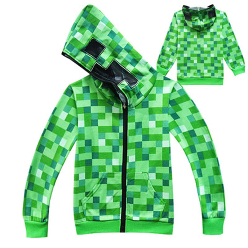 kids Boys Girls Winter Outwear Minecraftingly  Cartoon Clothes Sweatshirts Long Sleeve Christmas Shirt Creeper Cosplay jacket