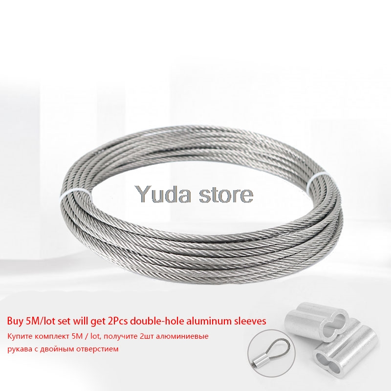 5Meter/lot Diameter 304 Stainless Steel Rope Wire Rope 0.8/1/1.5/2/3/4/5/6/8/10mm Lifting Cable Line Clothesline Rustproof SS304