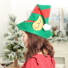 2019 Christmas Hat Red  Green Striped Elf Hat With Ears Christmas Ornaments Decor Children Women Men Boys Girls Cap Party Props цена