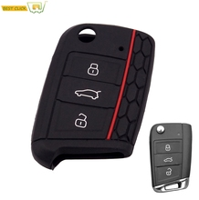 Car Silicone Key Case For VW Polo Tiguan Golf 7 2015 2016 2017 2018 2019 2020 Key Cover Keyless Fob Shell Protector