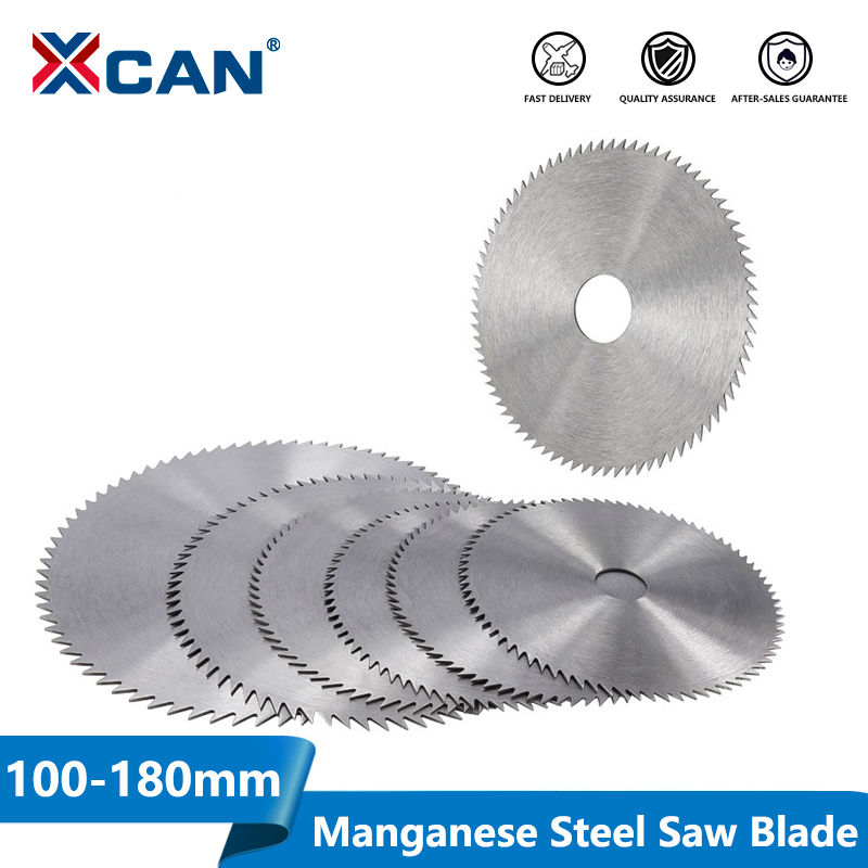 XCAN 1pc 100/110/125/150/180mm 60/75/80Teeth Manganese Steel Circular Saw Blade Power Tool Accessories Wood Cutting Disc