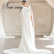 Bridal Shawl Cloak Wedding-Accessories Lace Satin Cathedral Long Length Formal Soft Appliqued