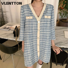 2020 Spring Autumn Vintage Plaid Tweed Mini Dress For Women Sexy V-Neck Elegant