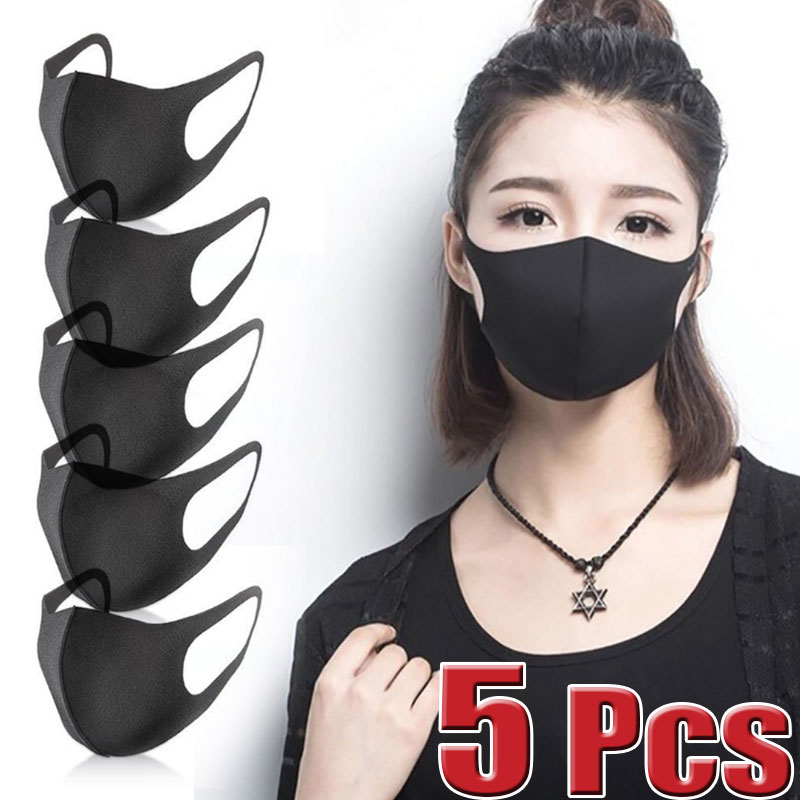 5 Pcs Black Reusable Vogue Anti-Infection Virus Mouthmask New Unisex Anti-dust Mouth Facemask Breath Straps Washable Wholesale