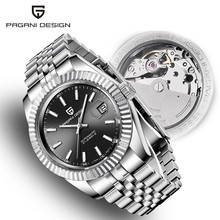 Erkek saatler 2019 yeni üst lüks marka PAGANI tasarım moda otomatik mekanik çelik İzle erkekler askeri spor kol saati + kutusu