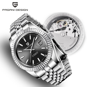 Image 1 - Mens Watches 2019 New Top Luxury Brand PAGANI Design Fashion Automatic Mechanical Steel Watch Men Military Sport Wristwatch+box