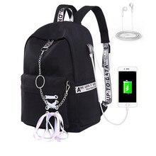 جديد المرأة على ظهره USB شحن النايلون حقائب مدرسية حقائب للمراهقين فتاة محمول على ظهره mochila الأنثوية الطلاب حقيبة