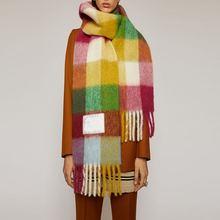 Женский и мужской шарф с бахромой в радужную клетку модный теплый