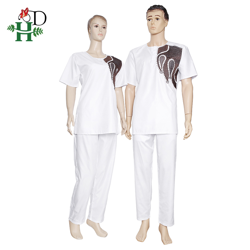 Image 2 - H&D African Couples Clothing Dashiki Shirt Pants Women 2 pieces Suit Men Agbada T shirt Traditional Embroidery Robe AfricaineAfrica Clothing   -