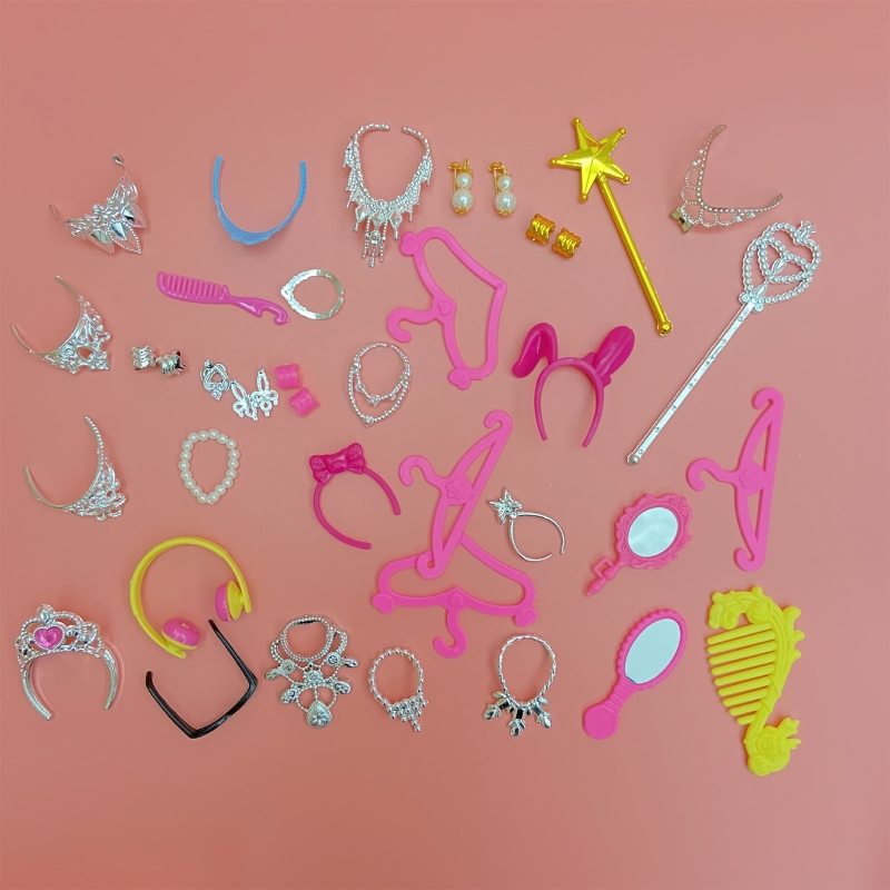 38pcs/Set Barbi Doll Accessories Simulation Jewelry Necklace Crown Earrings Pink Hanger Mirror Comb For Barbi Doll Toys