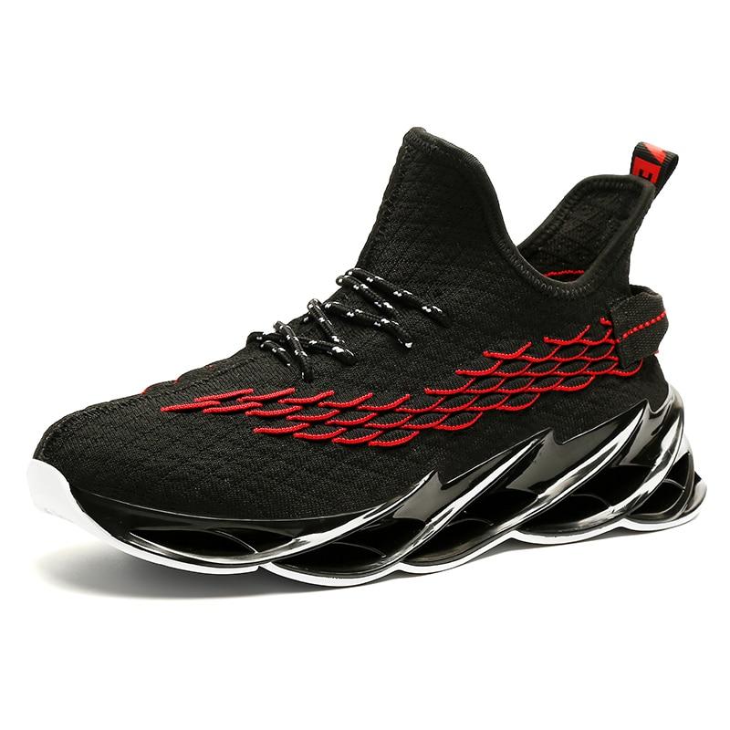 Новинка, мужские кроссовки для бега, бега, прогулок, спорта, высокое качество, на шнуровке, дышащие кроссовки - Цвет: 9013Black Red