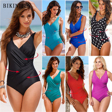 цена на 2020 New Sexy Front Twist Swimsuit Women Backless Pullover Swimwear Plus Size One Piece Suit M-5XL Girl Fixed Strap Monokini