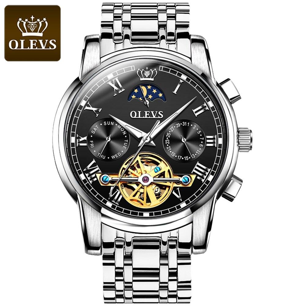 OLEVS Luxury Brand  Automatic Mechanical Watch Men Stainless Steel Waterproof watch Fashion Business Clock  Classic style